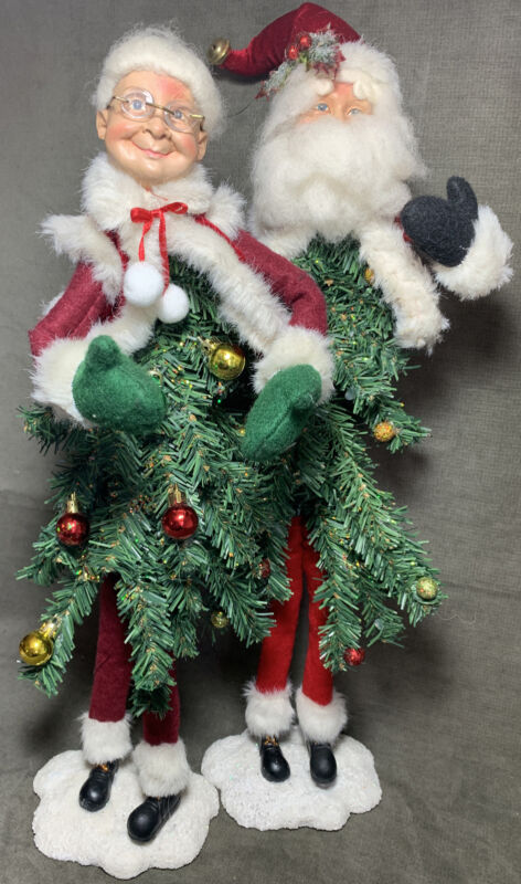 Whimsical Mr Mrs Santa Clause Mark Roberts Christmas Tree Bodies Bendable