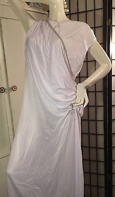 LADIES TOGA WHITE COSTUME GOWN 1 PC ONLY-SILVER TRIM-CLEOPATRA-GRECIAN-ROMAN](White Cleopatra Costume)