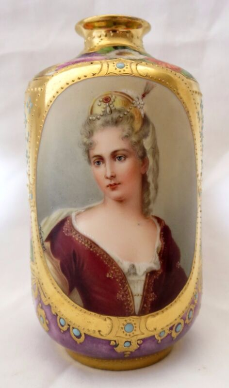 19th Century Royal Vienna Hand Painted Porcelain Jeweled Vase