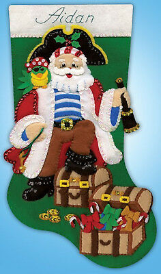 Felt Embroidery Kit ~ Design Works Pirate Santa Christmas Stocking - Pirate Christmas Stocking