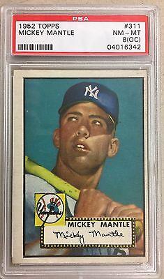 🔥 Beautiful 1952 Topps Mickey Mantle # 311 PSA 8 NM-MT Mint Baseball Card 🔥
