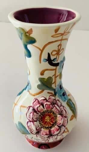 """Tracy Porter Hand Painted Floral Flower Bud Vase Green Blue Gold Pink 3D 6"""" EUC"""