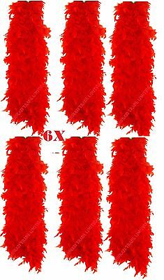 Set Of 6 Red Feather Boa Burlesque Hen Night Halloween Showgirl Party Job Lot ()