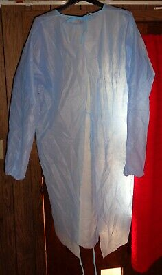 10 Isolation Gown With Elastic Cuff Disposable Dental Medical Ppe Blue Valumax
