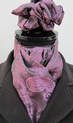 Ready Tied Purple & Lilac Paisley Satin Riding Stock & Scrunchie-Show Lead Rein