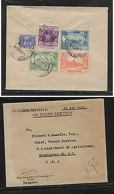 Burma  official  cover  to  US  1958       AT0614