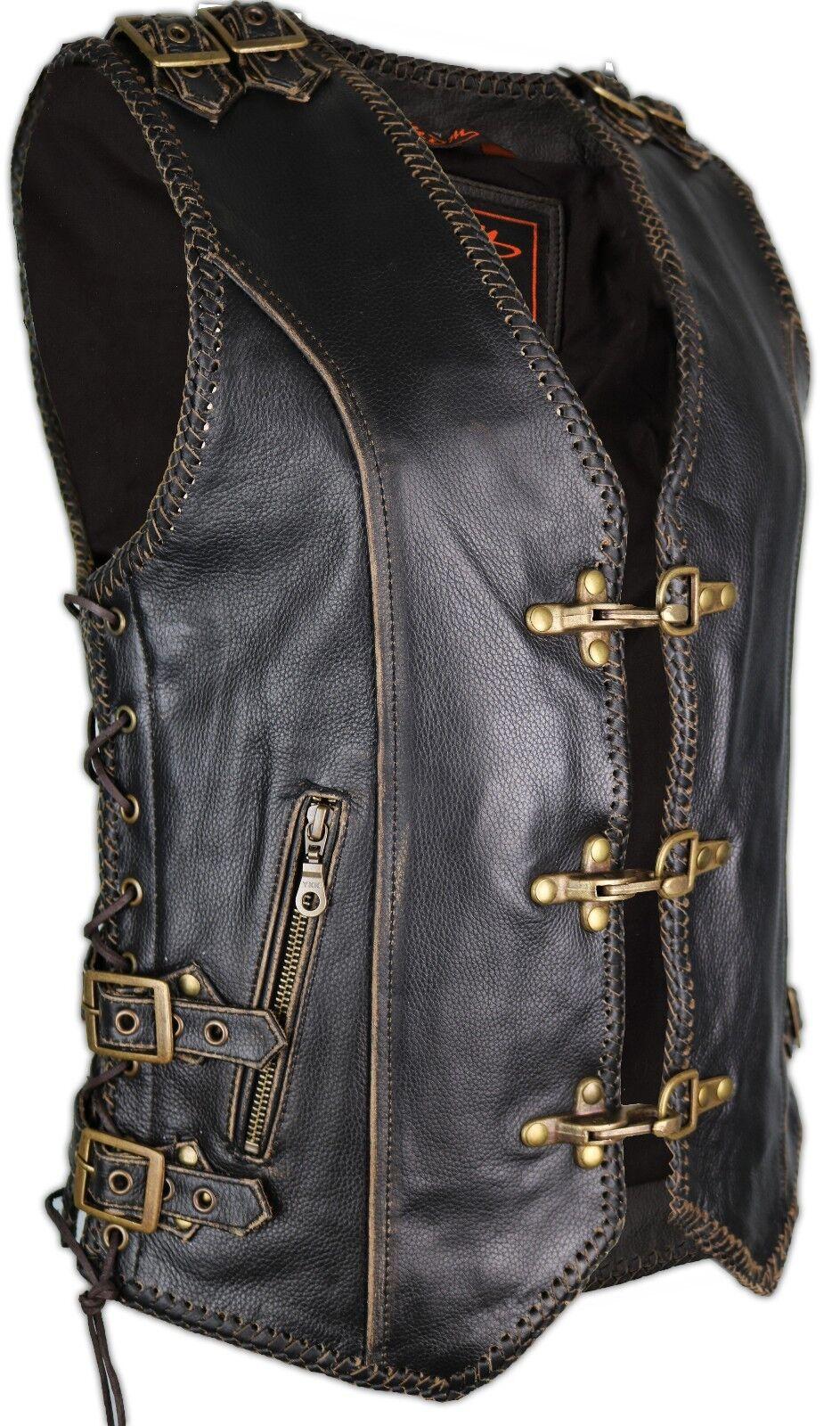 Damen Leder Weste Bikerweste Kutte Lederkutte Taillierter Frauen Schnitt Vintage