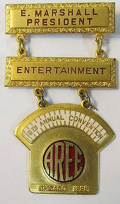 beautiful railroad 19th Annual Convention AREE Chicago 1928 MEDAL BADGE PINBACK