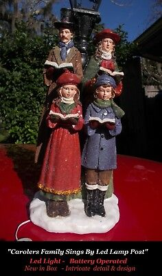Old World Victorian Christmas Carolers Family Sings By Led Lamp Post Statue B/O