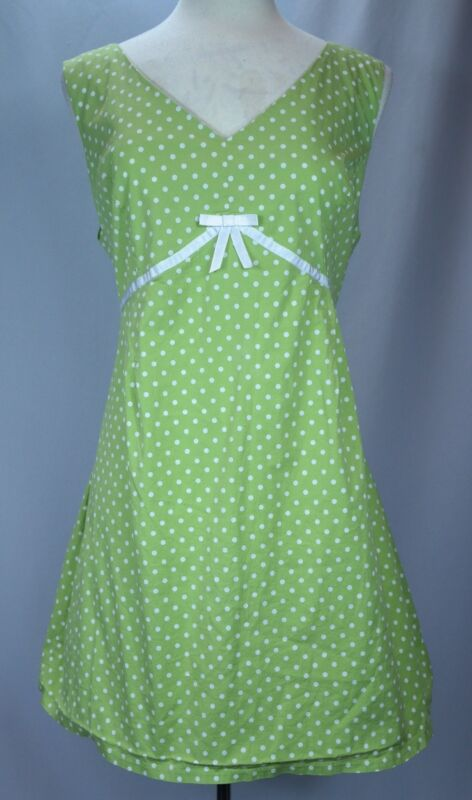 Women's Motherhood Maternity Lime Green Polka-Dot Empire Waist Dress - Sz 3X