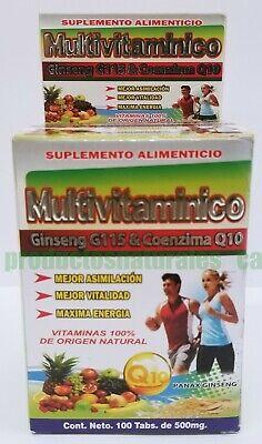 Multivitaminico 100% Natural Vitaminas para Aumentar la Energia. Cont. 100tabs