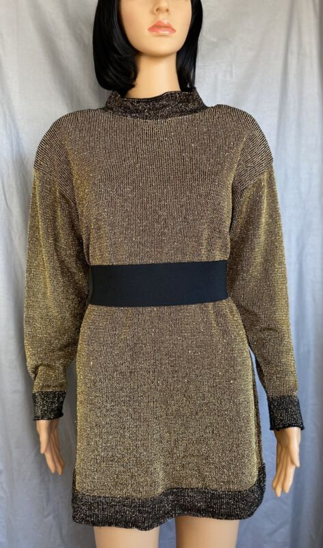 Pierre Cardin Gold Metallic Black Long Sweater Short Dress Size L Vintage 1980s