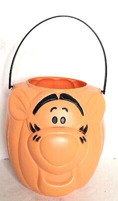 Vintage Tigger Blow Mold Plastic Pumpkin Easter Halloween Candy Bucket Pail