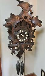Lg. 19 Antique German Highly Carved Bird/ Grapevine Lyre Cuckoo Clock- Works