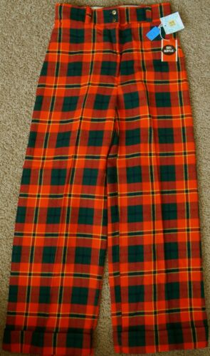 """New Red Green Gold Plaid Wide Leg Holiday Trouser Pants 32"""" Waist 15/16 (10/12)"""