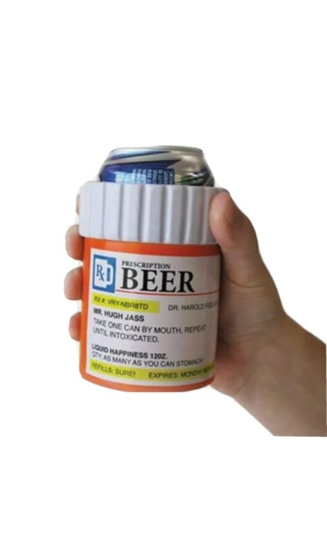 MEDICINE PILL PRESCRIPTION BOTTLE CONTAINER Beer Soda can drink COOLER sleeve