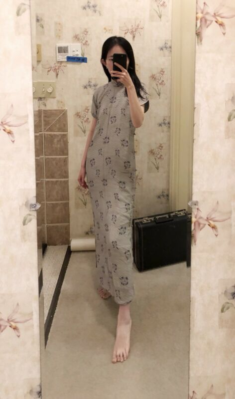 Antique Vintage Chinese Qipao Cheongsam Dogwood Elegant Wiggle Dress