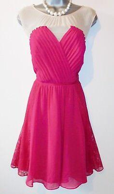 Coast Berry & Cream Lace Panel Silk Trim Evening Occasion Skater Dress Size 12 Berry Trim