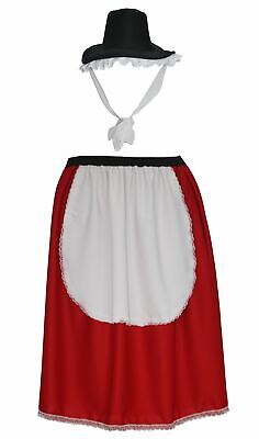 Ladies St Davids Day Traditional Welsh Skirt & Hat Fancy Dress Quaker Costume (Quaker Costume)