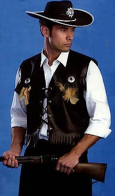 NEW Mens Black Fringe Vest Cowboy Western Frontier Country Sheriff Biker Costume (Cowboy Vest Costume)