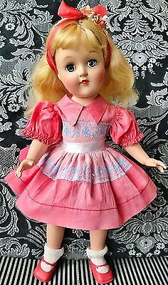 """1950's Ideal P-90 Toni baby doll ALL original 14"""" blond rare coral dress"""