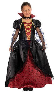 üm Kinder Mädchen Halloween rot schwarz Vampirkostüm Kind (Vampir-mädchen Kostüme Kinder)