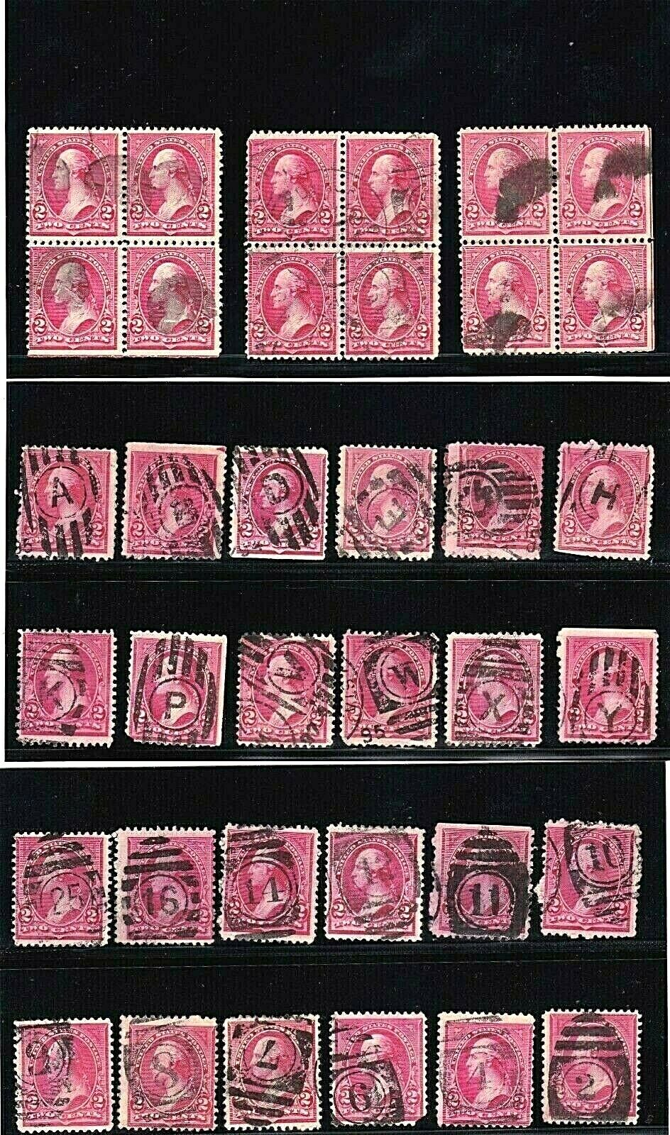 US STAMPS 19th Century Unidentified 2c Banknote Fancy Cancels And Blocks 528  - $9.50