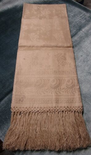 Fabulous Antique Fringed Linen Damask Towel Ornaments Florals Rich Ecru Unused