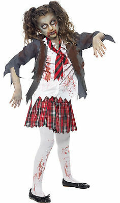 Zombie Monster School Girl Kid Teen Smiffys Halloween Fancy Dress Costume 7-14