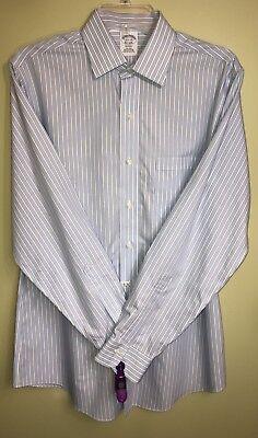 Brooks Brothers Mens Regent Long Sleeve Non-Iron Dress Shirt 15.5-34 Blue Stripe Brooks Brothers Dress Shirt