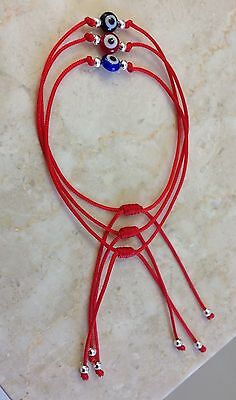 3 Red String Kabbalah Bracelet Evil Eye Silver Bead Good Luck Charm Protection (String Bracelet)