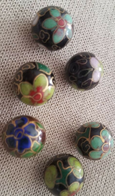 Vintage 14 MM Chinese Cloisonne Beads Round Black w/ Flowers (20 beads)