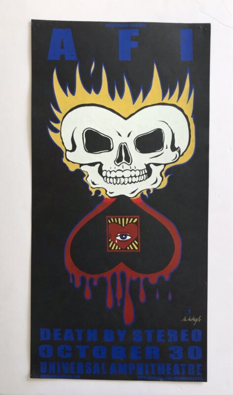 AFI Poster w/ Death By Stereo Oct 30 2004 Universal - Michael Motorcycle signed