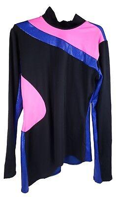 Blue/Pink/Black Dance Shirt/Costume - Women's Adult Large
