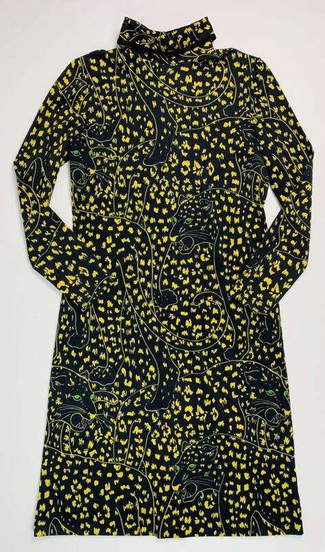 Vintage 1970s Panther Print Psychedelic Dress Long Sleeve Go Go Hippie Mod
