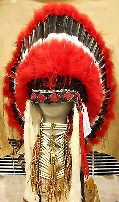 """Genuine Native American Navajo Indian Headdress 36"""" COMANCHE Red Black White"""