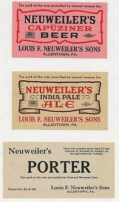 3 dif Neuweiler's Keg/Case Beer labels IRTP's Allentown PA