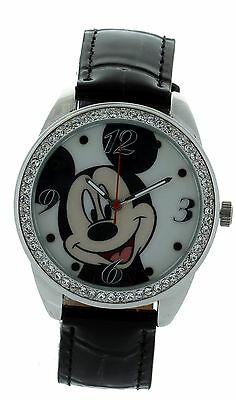 Disney Micky Mouse Watch Genuine Leather Black Strap With Stone Bezel