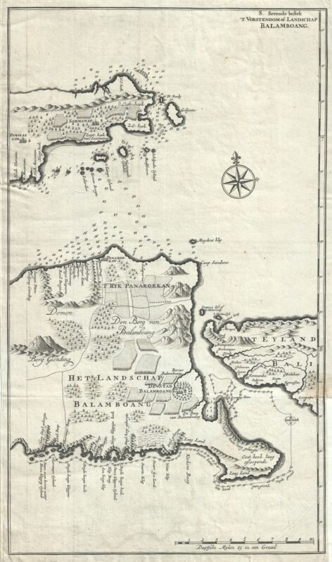 1726 Valentijn Map of East Java, Indonesia