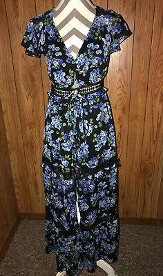 Disney Princess Mulan XS Floral Tiered Sheer Lace Black Blue Shift Dress Long