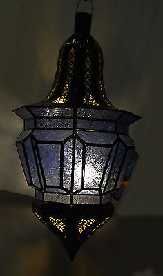 Moroccan Glass Lantern Lamp Indoor Outdoor Electric Candlelit Decorative XL Blue