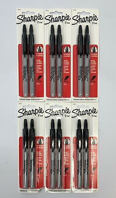 Set Of 6 Sharpie Fine Retractable Marker On Most Surfaces Black 32724