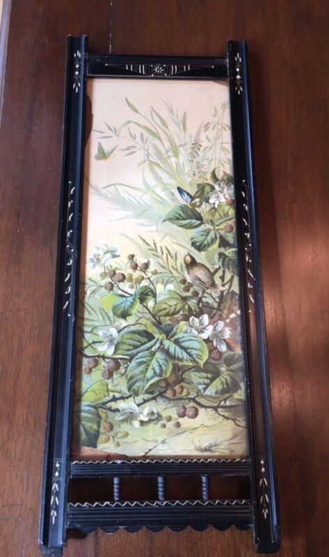 Antique Eastlake Victorian Ebony Carved Picture Frame #7
