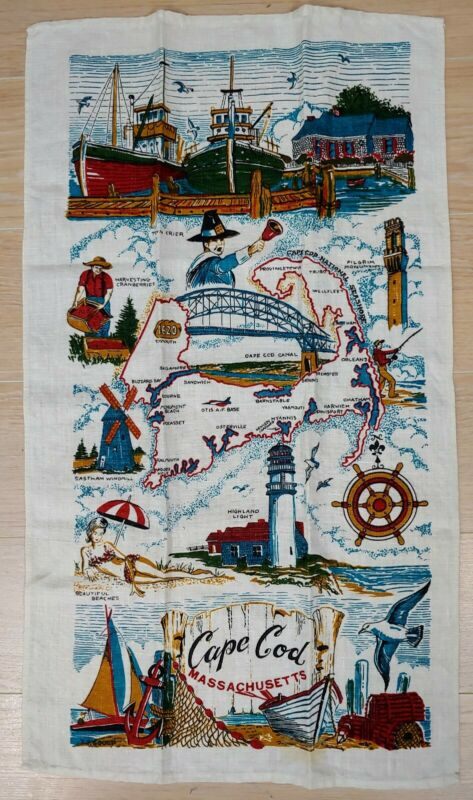 Vintage Cape Cod Massachusetts Linen Kitchen Tea Towel