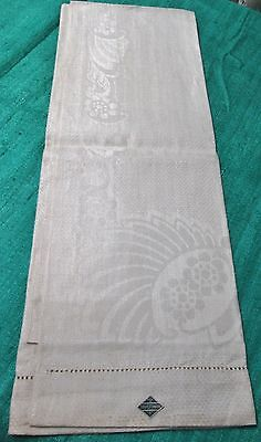 Antique Linen Damask Bath Towel ART DECO Florals Never Used SOVIET UNION LABELS