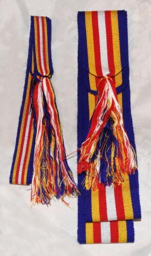 Loom Woven Sash/Leg Tie Set SLT08 (Red-White-Blue-Yellow) Mtn Man-Reenactor NEW