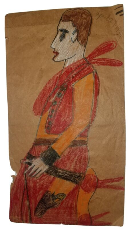 Antique circa 1932 Outsider, Primitive, Folk Art Painting Signed