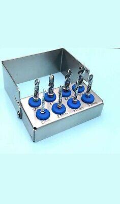 8pcs Dental Implant Drills External Irrigation Polished Stainless Bur Holder
