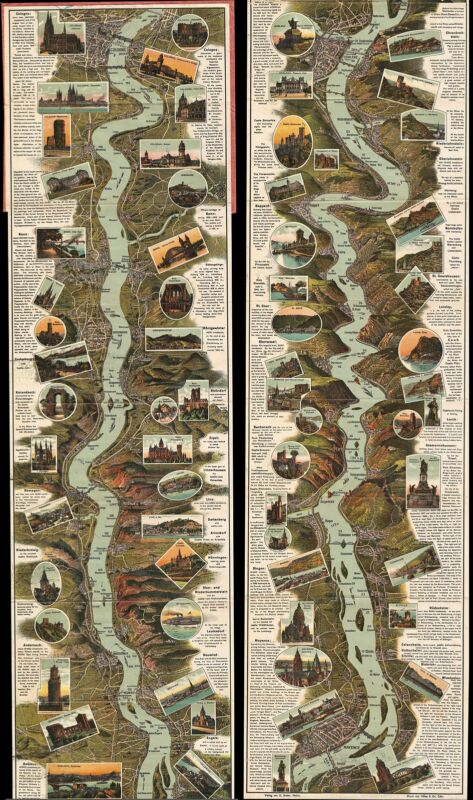 1925 Suder Panoramic Map of Middle Rhine, Germany