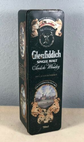 Vtg Glenfiddich Whiskey Hinged Metal Storage Tin By Barringer, Wallis & Manners